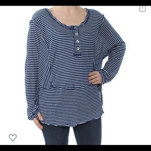 FREE PEOPLE | linen cotton oversized stripe Henley
